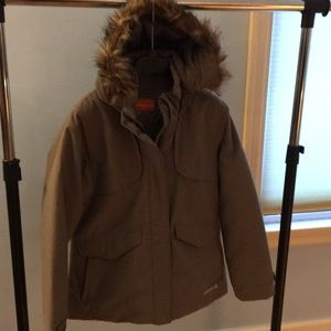 MERRELL opti-warm hooded parka sz M, olive/tan